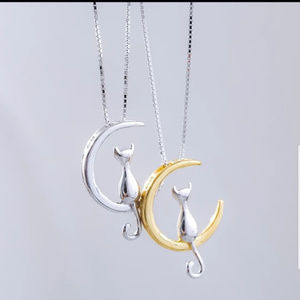 Silver Gold Moon Cat Necklace Stamped S925